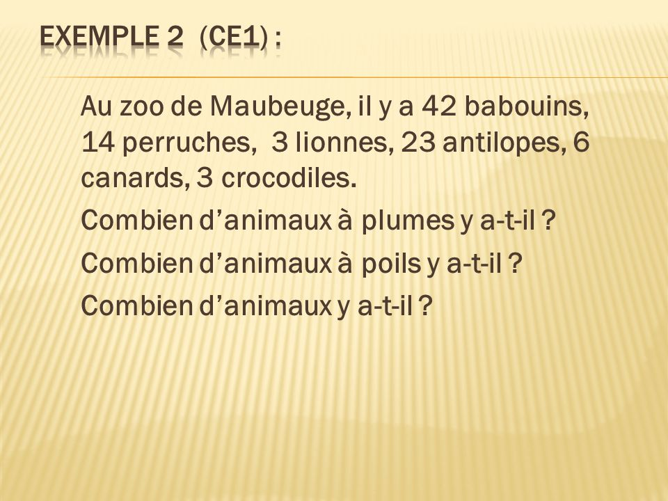 Exemple 2 (CE1) : Au zoo de Maubeuge, il y a 42 babouins, 14 perruches, 3 lionnes, 23 antilopes, 6 canards, 3 crocodiles.