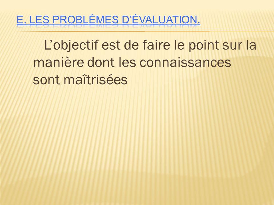 E. Les problèmes d'évaluation.