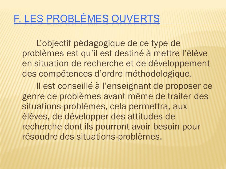 F. Les problèmes OUVERTS