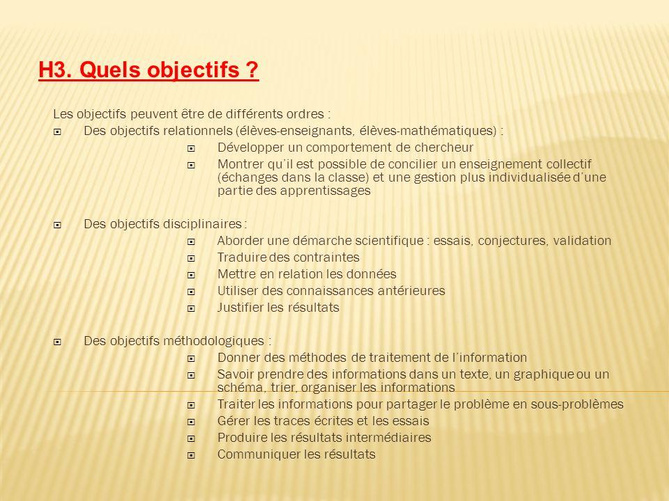 H3. Quels objectifs Les objectifs peuvent être de différents ordres : Des objectifs relationnels (élèves-enseignants, élèves-mathématiques) :