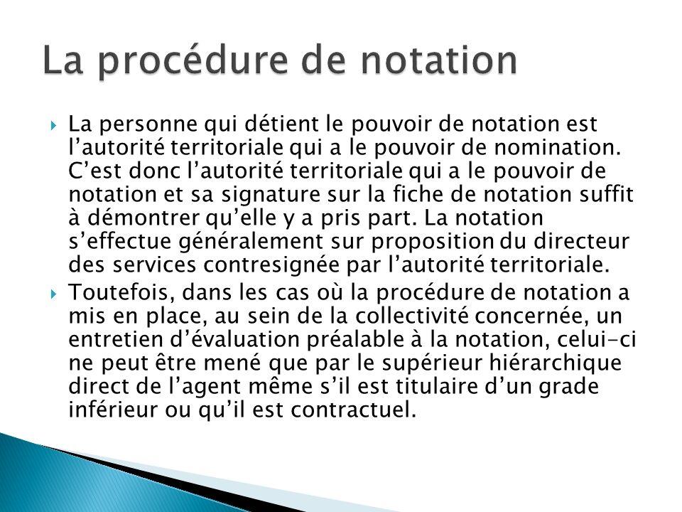 La procédure de notation