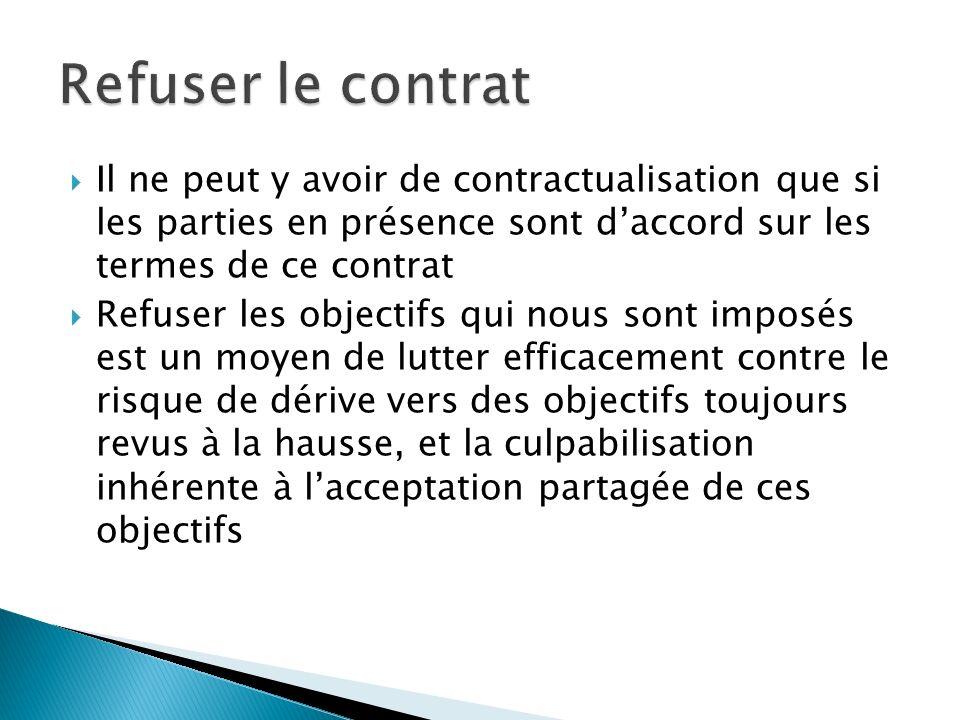 Refuser le contrat Il ne peut y avoir de contractualisation que si les parties en présence sont d'accord sur les termes de ce contrat.