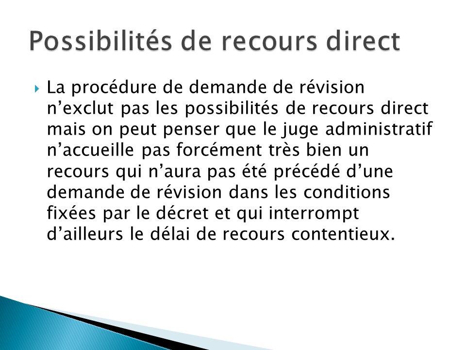 Possibilités de recours direct