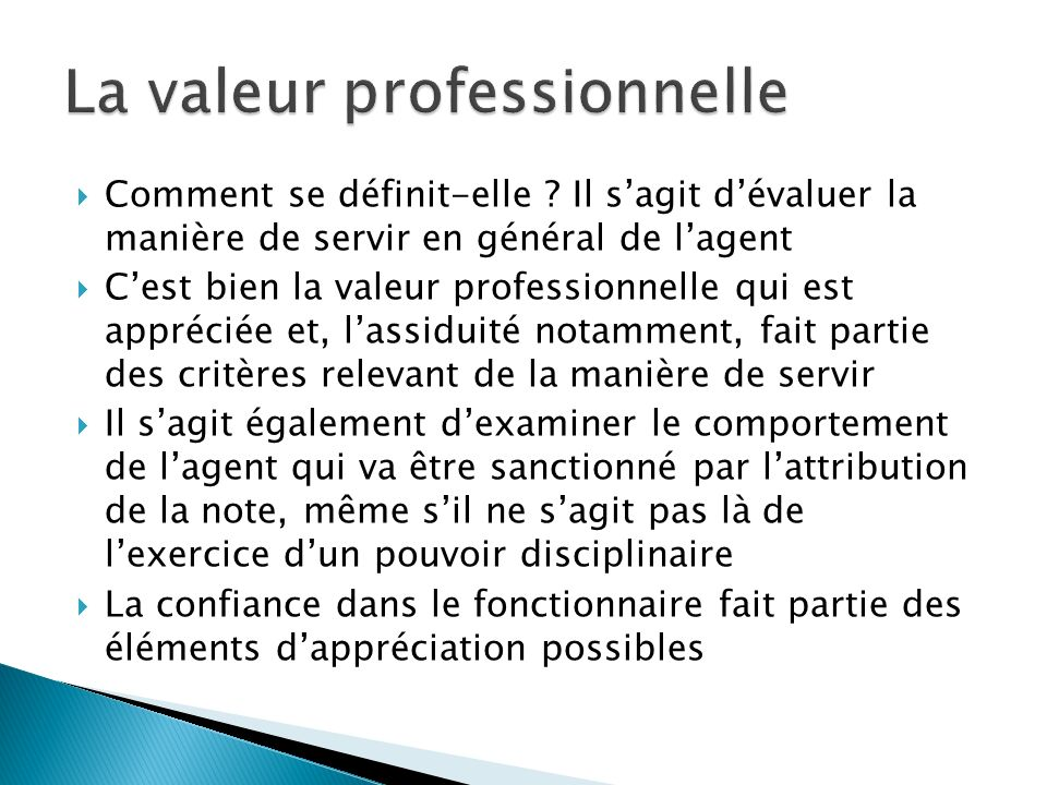 La valeur professionnelle