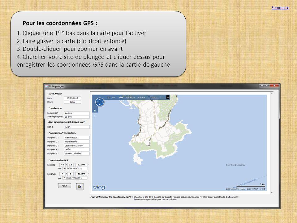 Pour les coordonnées GPS :