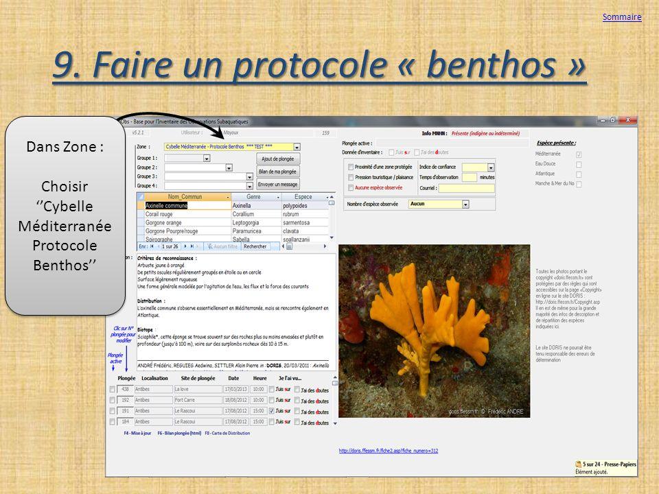 9. Faire un protocole « benthos »