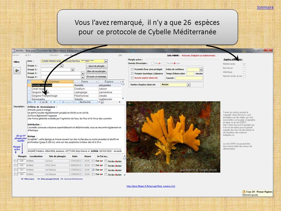 Sommaire Vous l'avez remarqué, il n'y a que 26 espèces pour ce protocole de Cybelle Méditerranée.