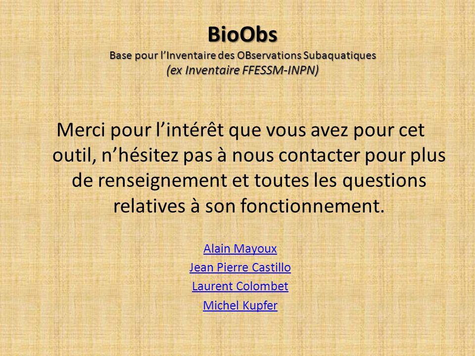 BioObs Base pour l'Inventaire des OBservations Subaquatiques (ex Inventaire FFESSM-INPN)