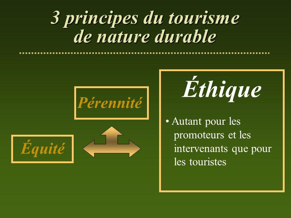 Éthique 3 principes du tourisme de nature durable Pérennité Équité
