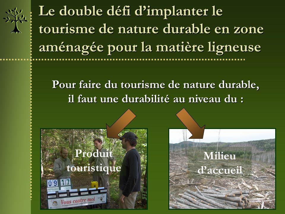 Le double défi d'implanter le tourisme de nature durable en zone aménagée pour la matière ligneuse