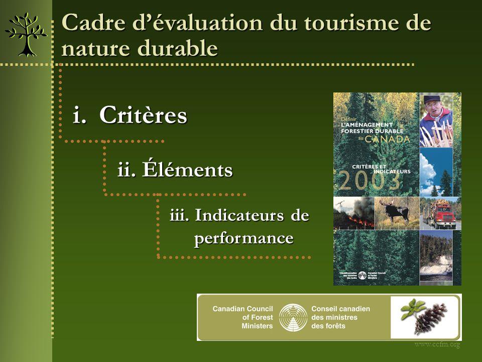 Critères Cadre d'évaluation du tourisme de nature durable ii. Éléments