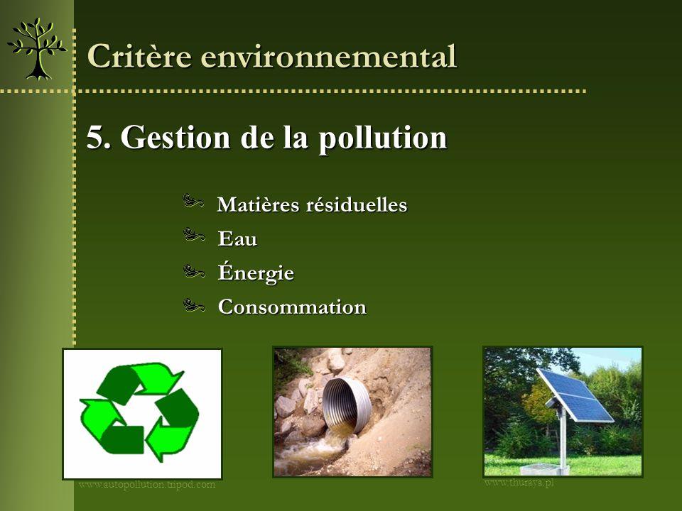 Critère environnemental
