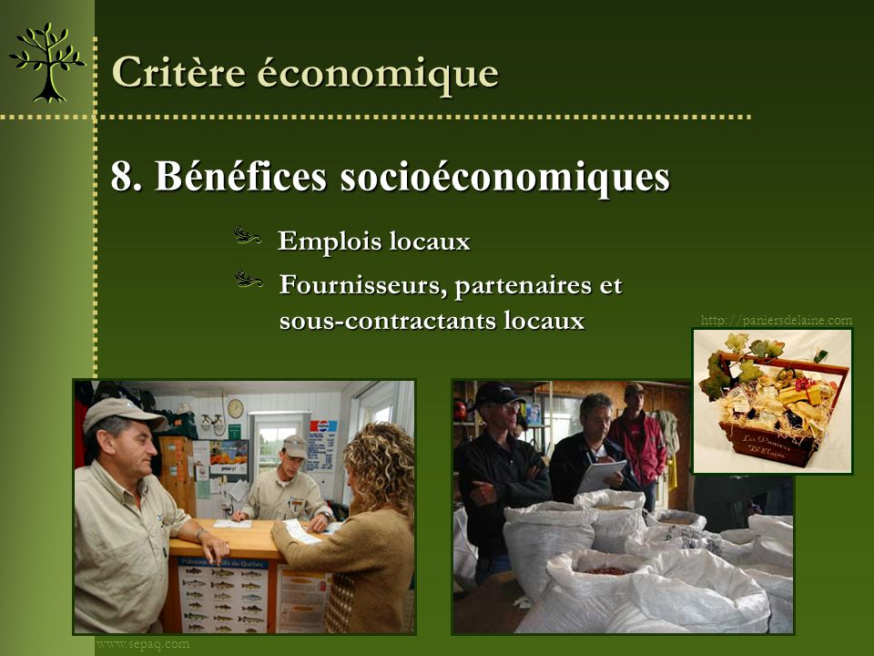 Critère économique 8. Bénéfices socioéconomiques Emplois locaux