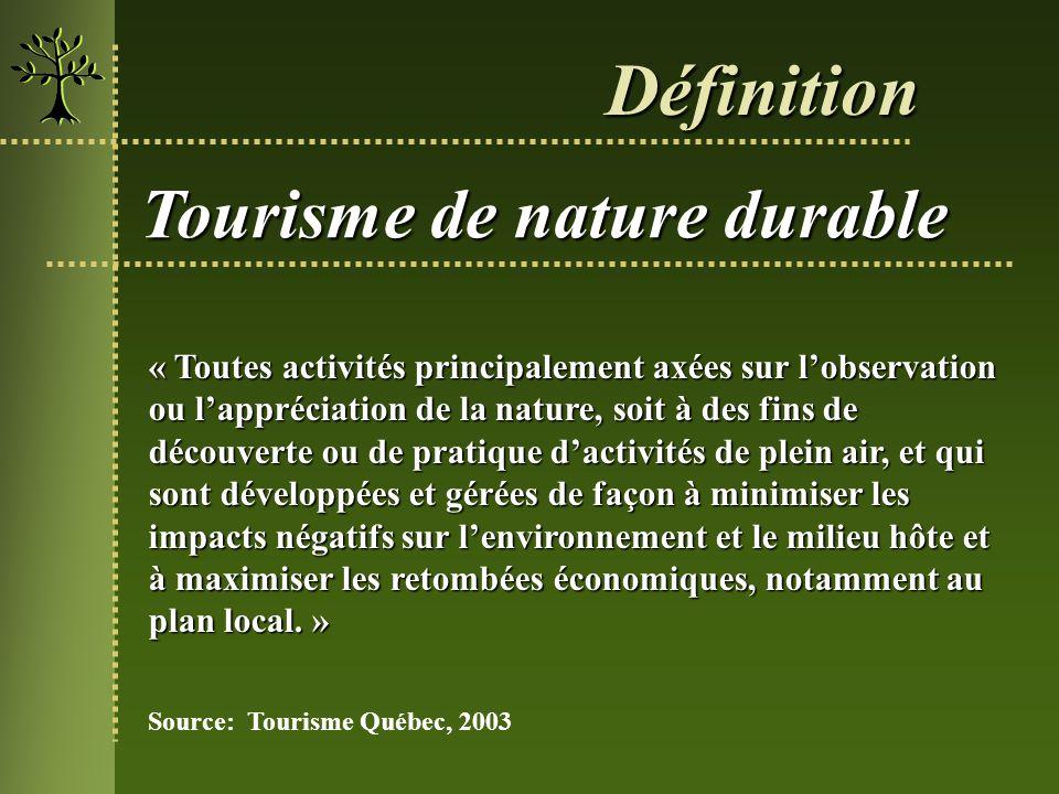 Définition Tourisme de nature durable