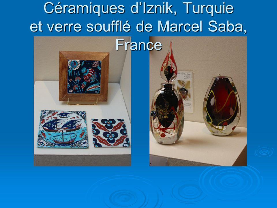 Céramiques d'Iznik, Turquie et verre soufflé de Marcel Saba, France
