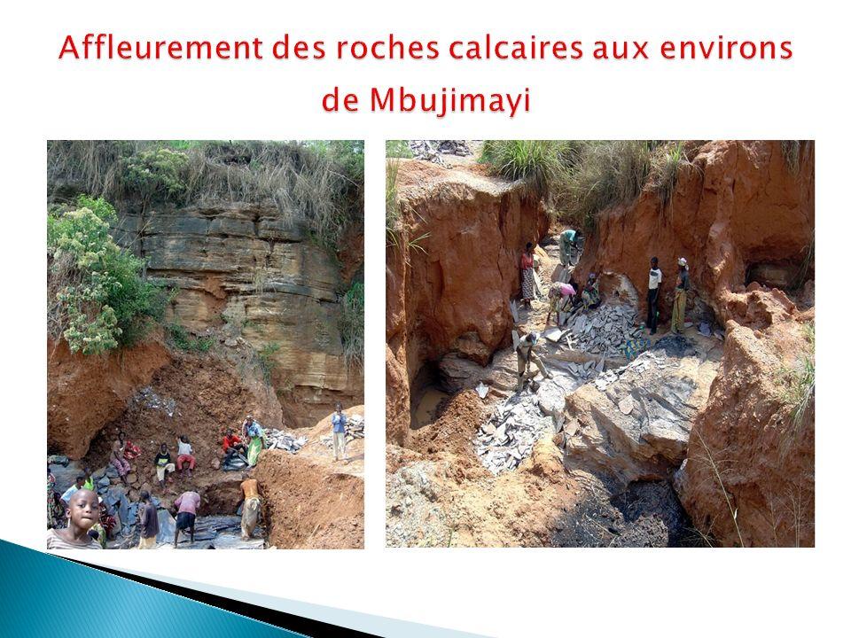 Affleurement des roches calcaires aux environs de Mbujimayi