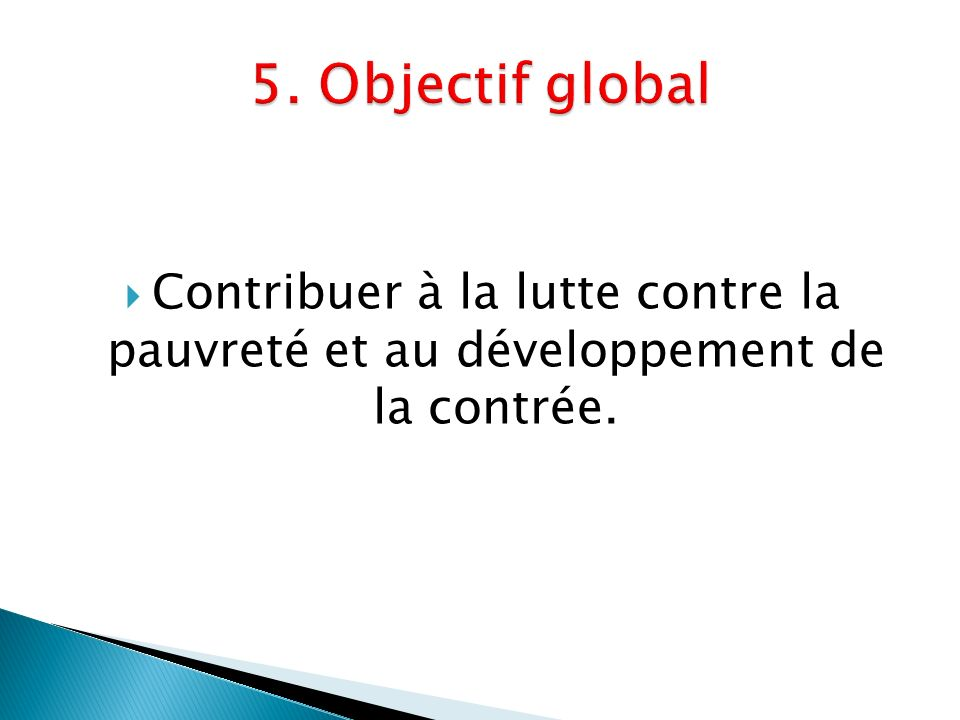 5. Objectif global Contribuer à la lutte contre la pauvreté et au développement de la contrée.