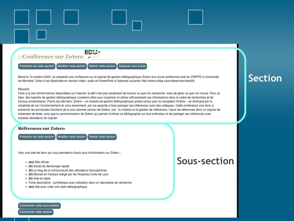 Section Sous-section