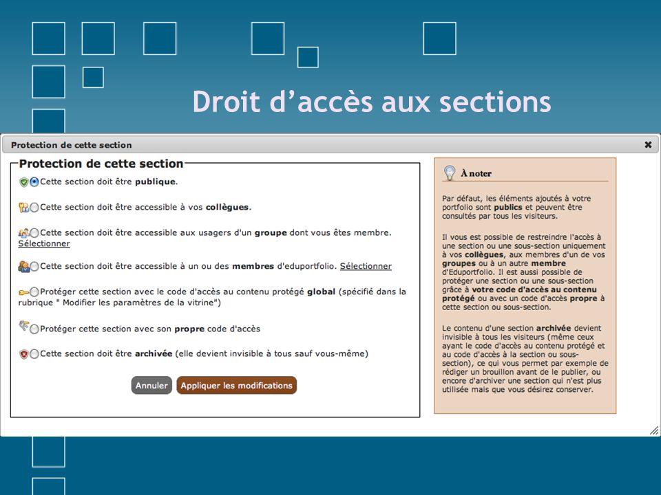 Droit d'accès aux sections