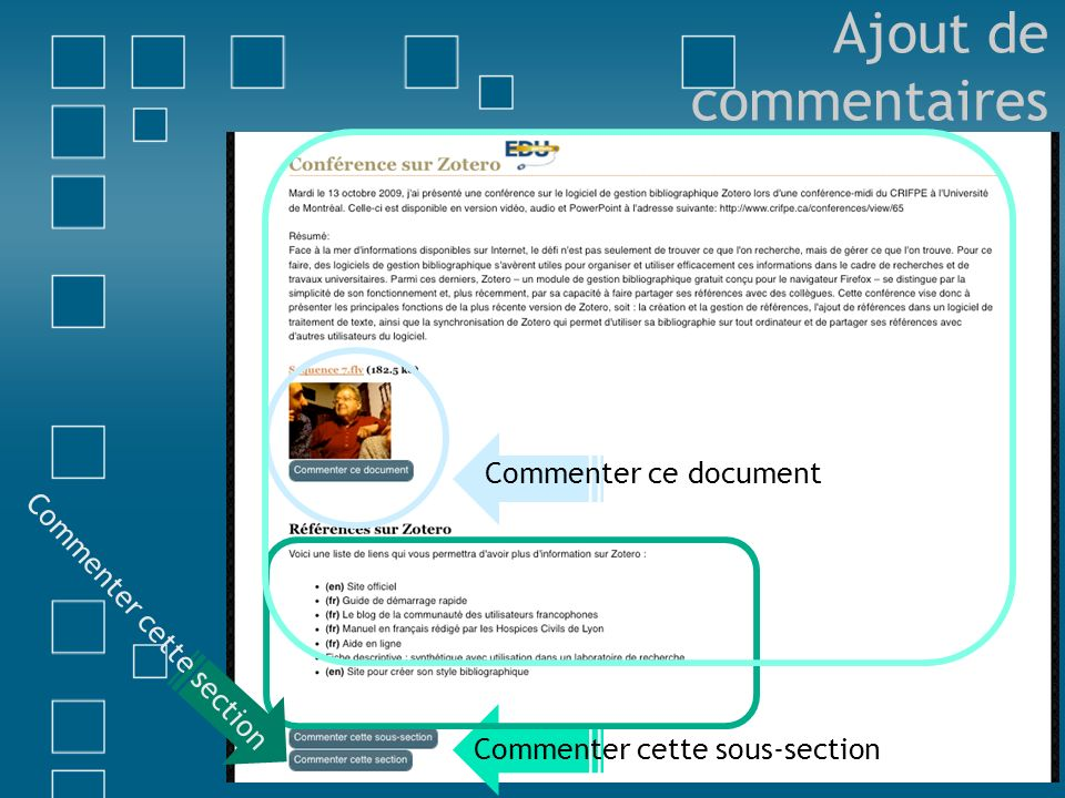 Ajout de commentaires Commenter ce document Commenter cette section
