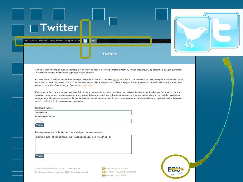 Twitter Twitter = microblogging qui permet d'envoyer des messages brefs (140 caractères) pour rester en contact avec son réseau social.