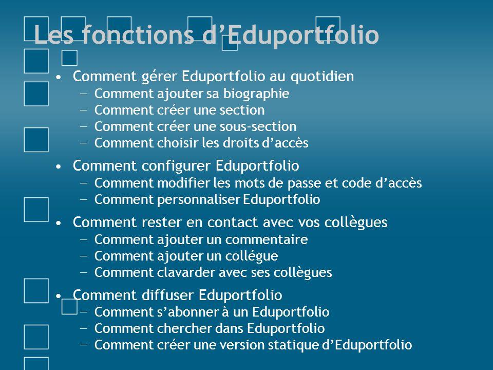 Les fonctions d'Eduportfolio