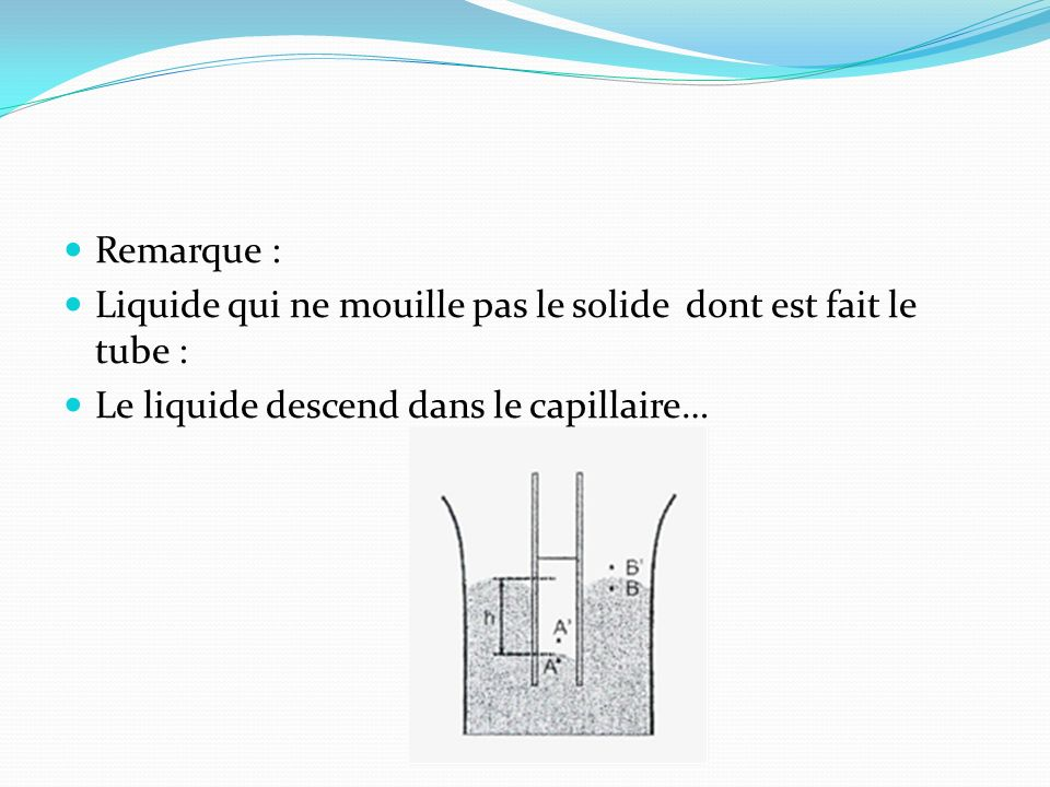 Remarque :Liquide qui ne mouille pas le solide dont est fait le tube : Le liquide descend dans le capillaire…