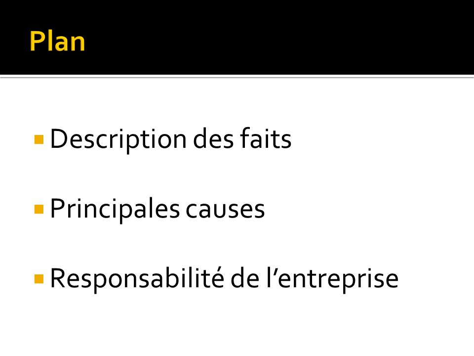 Plan Description des faits Principales causes