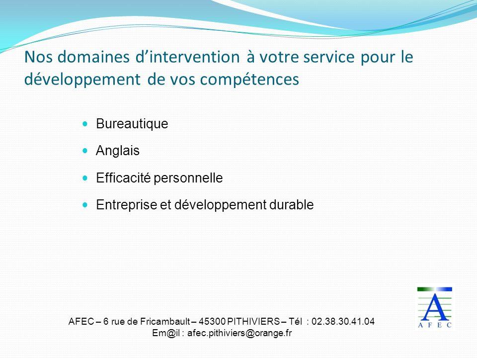 Nos domaines d'intervention à votre service pour le développement de vos compétences