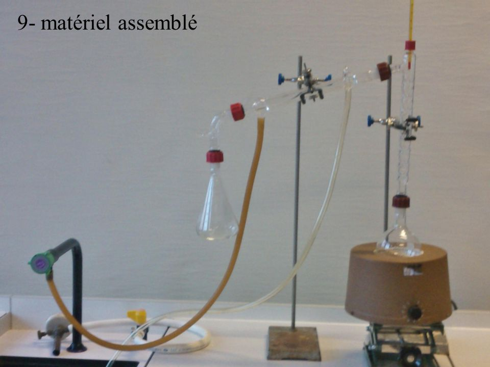9- matériel assemblé 5- thermomètre 6- coude 7- erlenmeyer