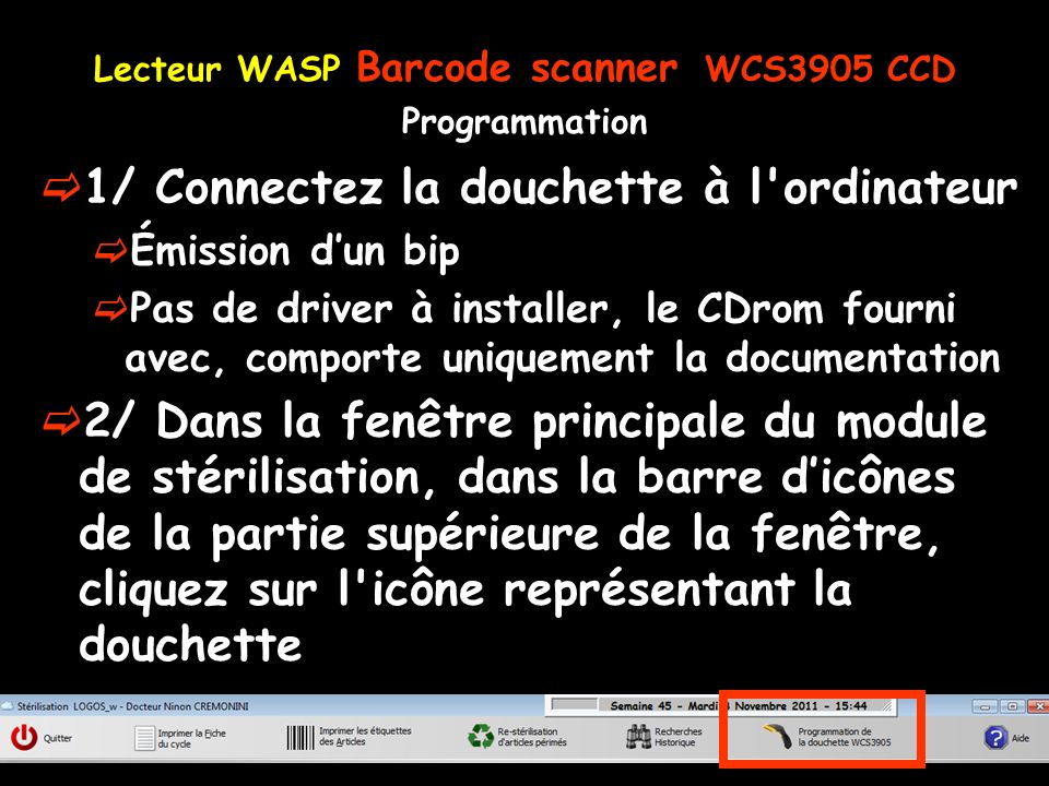 Lecteur WASP Barcode scanner WCS3905 CCD Programmation