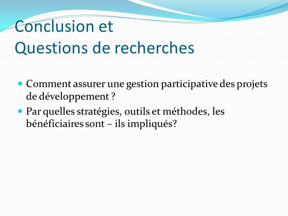 Conclusion et Questions de recherches
