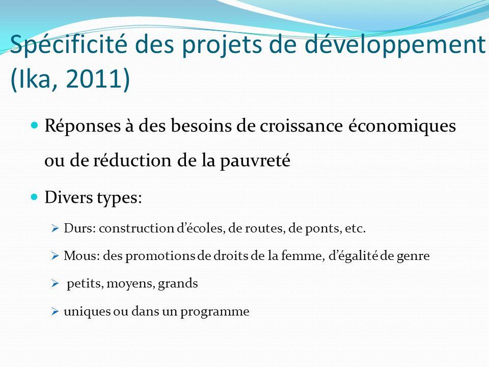 Spécificité des projets de développement (Ika, 2011)