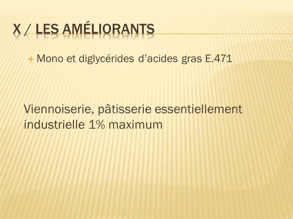 X / Les améliorants Mono et diglycérides d'acides gras E.471.