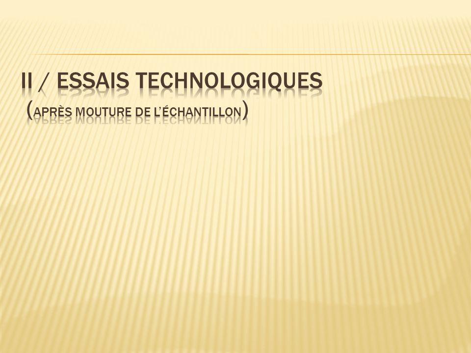 II / Essais technologiques (après mouture de l'échantillon)