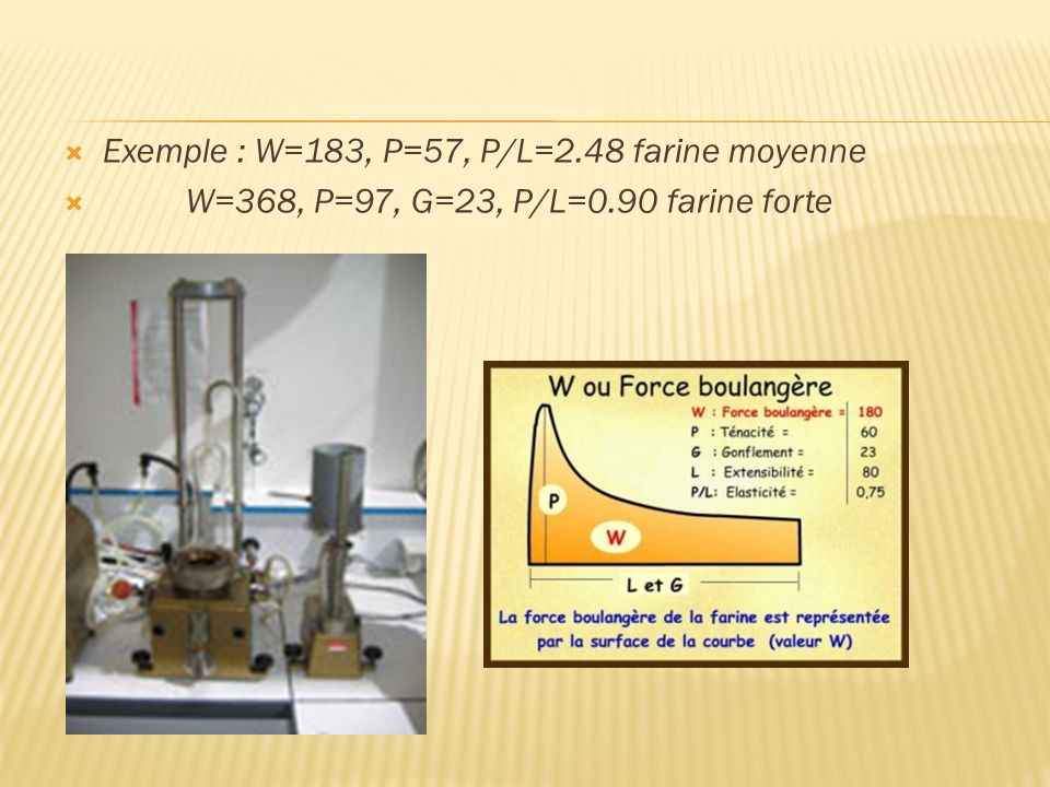 Exemple : W=183, P=57, P/L=2.48 farine moyenne