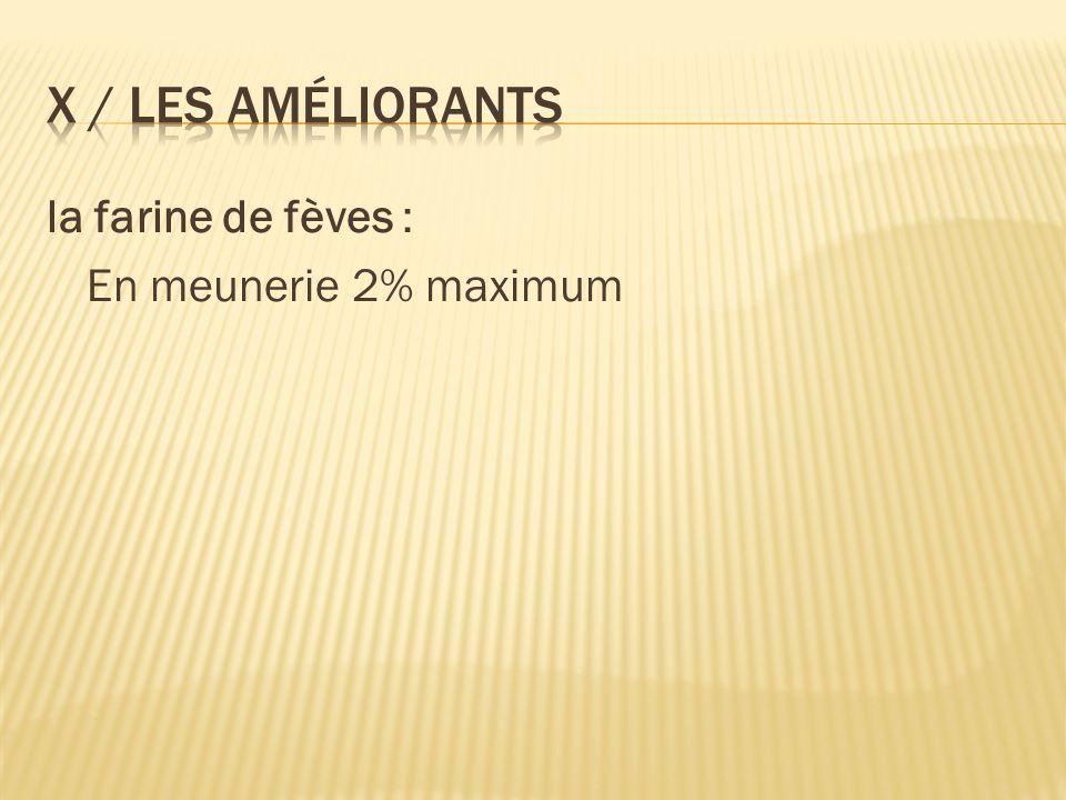 X / Les améliorants la farine de fèves : En meunerie 2% maximum