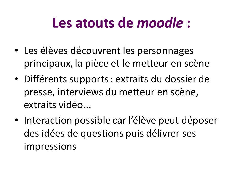 Les atouts de moodle :Les élèves découvrent les personnages principaux, la pièce et le metteur en scène.