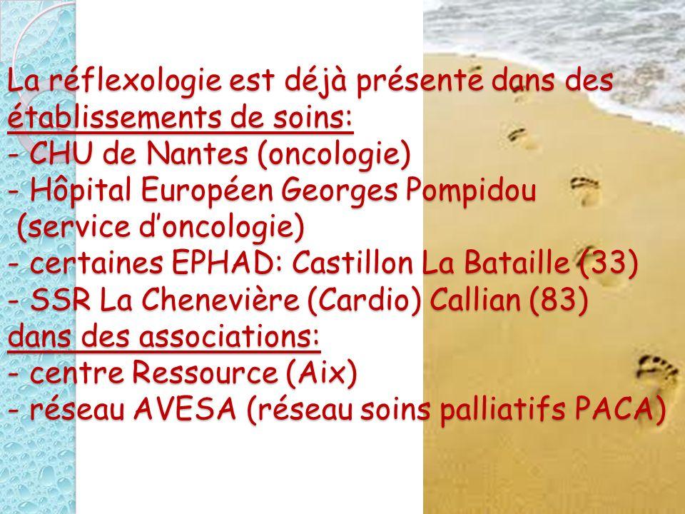 La réflexologie est déjà présente dans des établissements de soins: - CHU de Nantes (oncologie) - Hôpital Européen Georges Pompidou (service d'oncologie) - certaines EPHAD: Castillon La Bataille (33) - SSR La Chenevière (Cardio) Callian (83) dans des associations: - centre Ressource (Aix) - réseau AVESA (réseau soins palliatifs PACA)