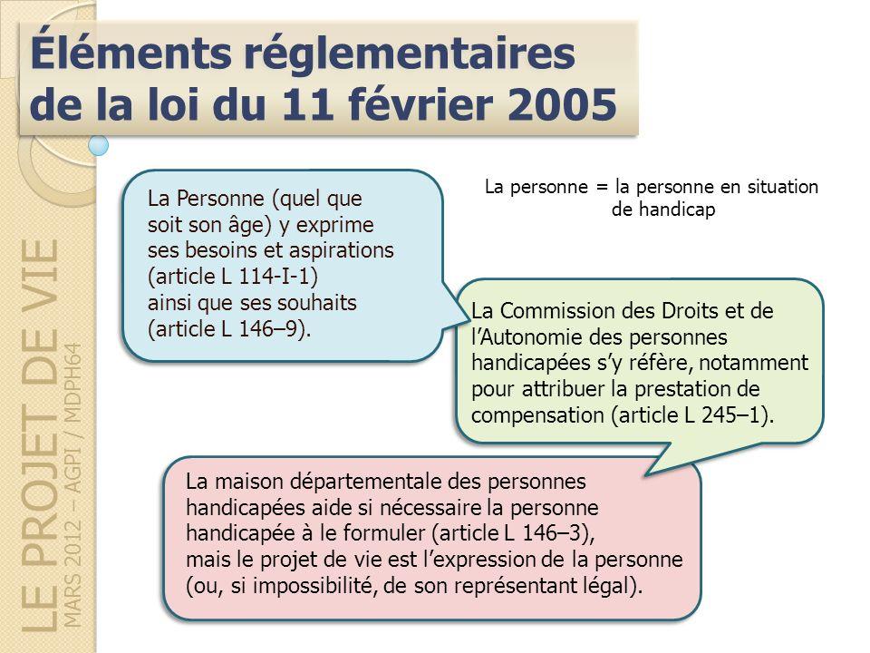 LE PROJET DE VIE Éléments réglementaires de la loi du 11 février 2005