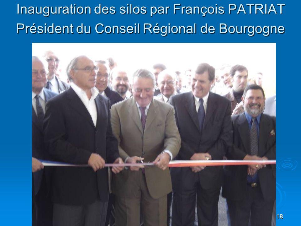 Inauguration des silos par François PATRIAT Président du Conseil Régional de Bourgogne