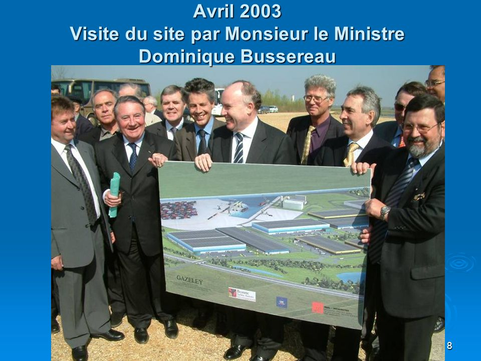 Avril 2003 Visite du site par Monsieur le Ministre Dominique Bussereau