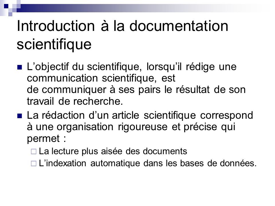 Introduction à la documentation scientifique