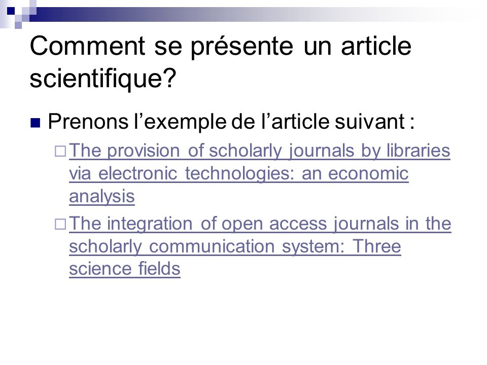 Comment se présente un article scientifique