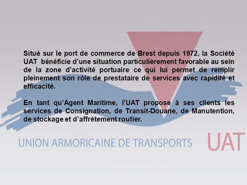 Situé sur le port de commerce de Brest depuis 1972, la Société UAT bénéficie d'une situation particulièrement favorable au sein de la zone d'activité portuaire ce qui lui permet de remplir pleinement son rôle de prestataire de services avec rapidité et efficacité.