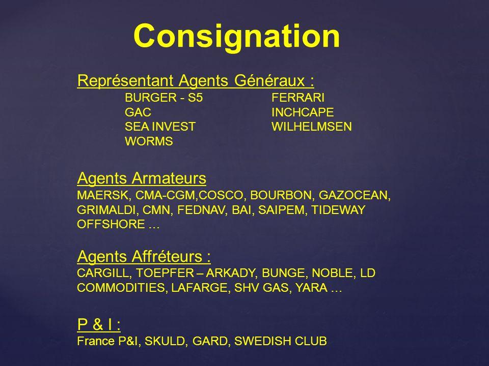 Consignation Représentant Agents Généraux : Agents Armateurs