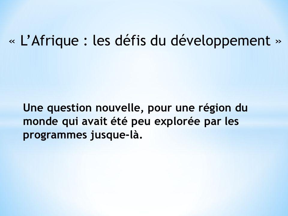 « L'Afrique : les défis du développement »