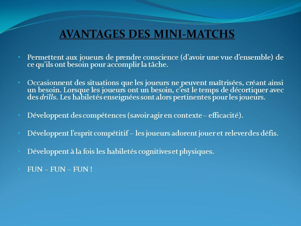 AVANTAGES DES MINI-MATCHS