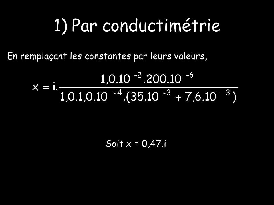 1) Par conductimétrie En remplaçant les constantes par leurs valeurs,
