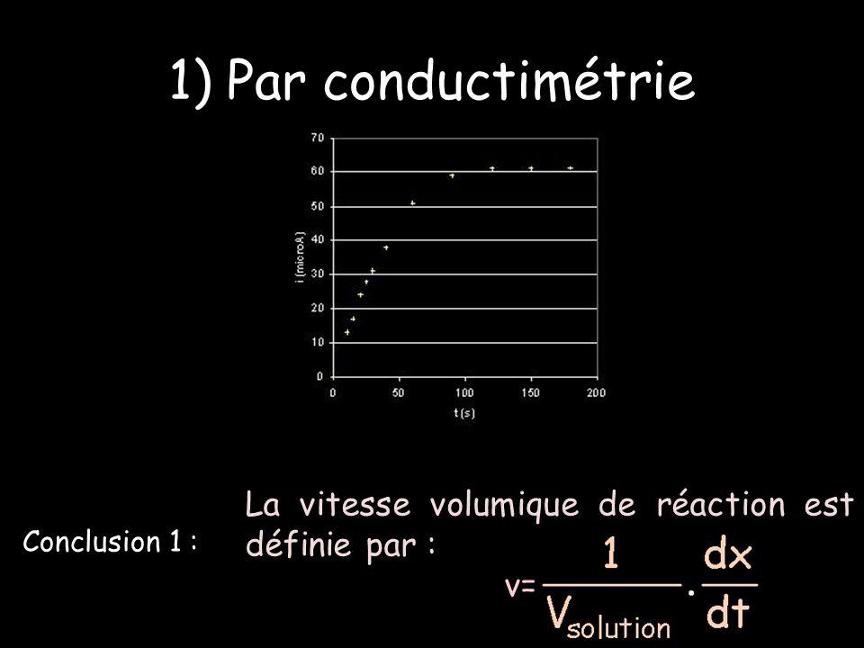 1) Par conductimétrie La vitesse volumique de réaction est définie par : v= Conclusion 1 :